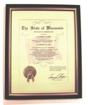 Plaque of Certificate of Commendation