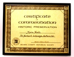 Certificate of Commemoration Historic Preservation