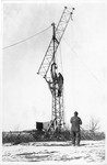 Maintenance crew assembling new radio tower for WTAQ and WHBY by St. Norbert Abbey